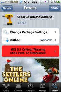 Clearlocknotification cydia tweak