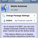 Safe Mode For Jailbreaking; Mobile Substrate Cydia Tweak Update