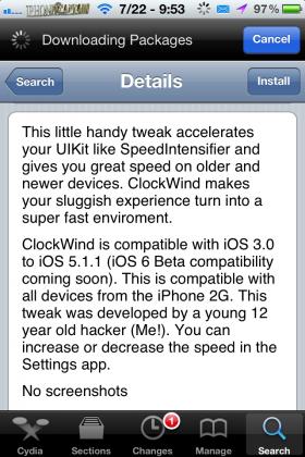 ClockWind Cydia Tweak(Free): Increase Speed Of Animations
