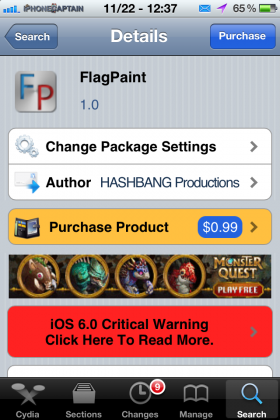 flagpaint cydia tweak