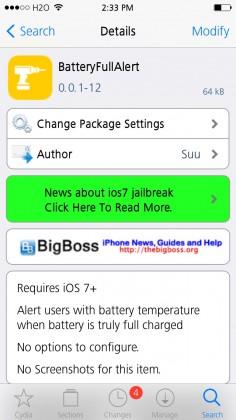 BatteryFullAlert Cydia Tweak Screenshot