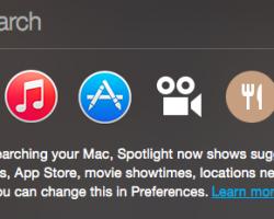 Yosemite OS X Spotlight