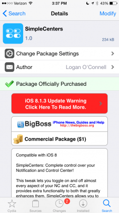 SimpleCenters Cydia Tweak