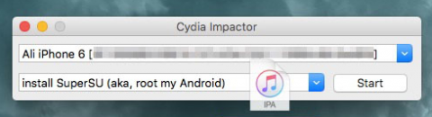 drag and drop Yalu on Cydia Impactor
