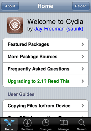 Cydia screen