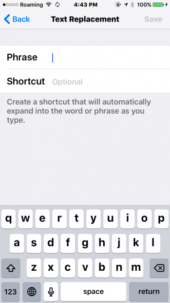 type shortcuts