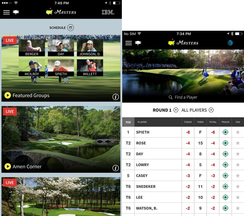 the masters tournament app