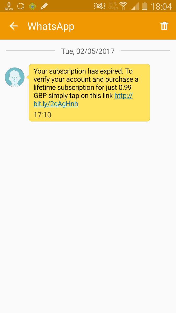 WhatsApp Subscription Scam