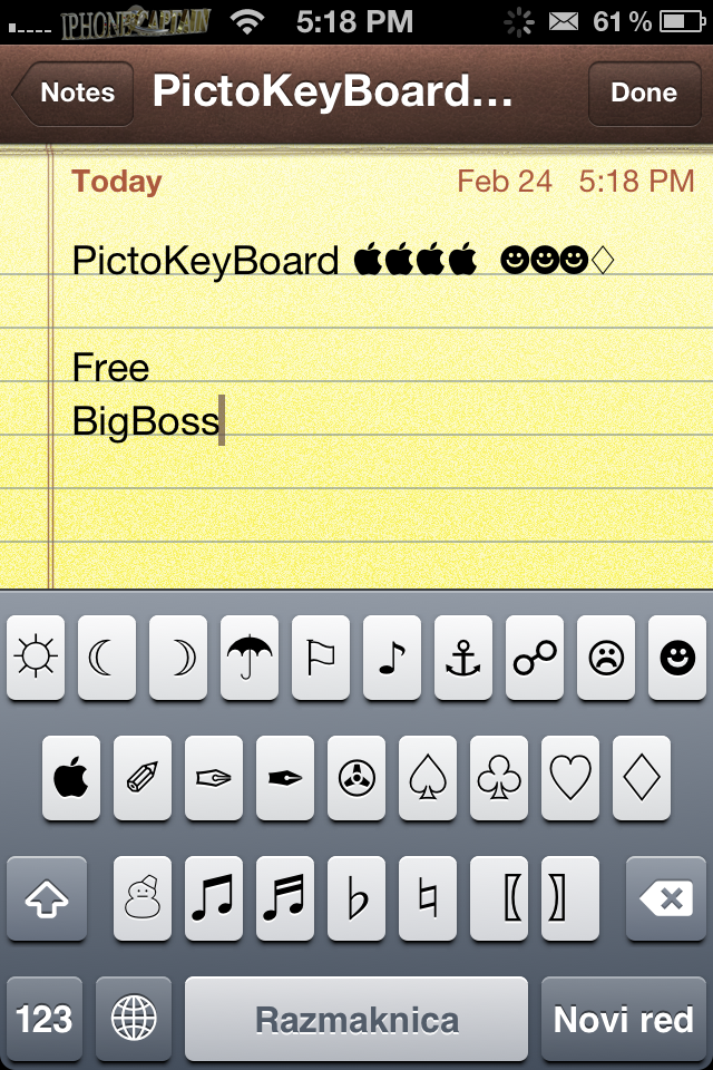 add awesome symbols to keyboard pictokeyboard cydia tweak 2012. Black Bedroom Furniture Sets. Home Design Ideas